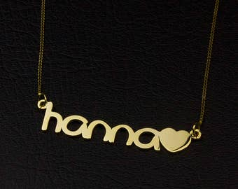 Name Necklace Add Heart, Personalized Jewelry, Custom Heart Necklace, Gold Personalized Necklace, My Name Necklace, Cute Necklace And Heart