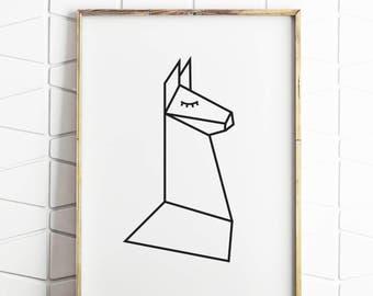 geometric print, geometric wall art, llama art, geometric llama, alpaca art, alpaca prints, llama prints, geometric animal
