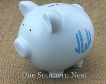 Personalized baby blue Pearhead Piggy Bank with monogram or name.  The Perfect gift for baby shower, birthday, or Christmas. Baby boy gift.