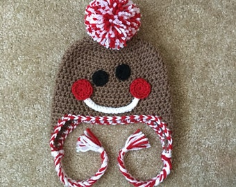 Baby Gingerbread Hat, Newborn Gingerbread Hat, Gingerbread Crochet Hat, Newborn Christmas Hat, Baby Christmas Hat