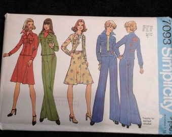 Vintage bellbottom, skirt and jacket pattern