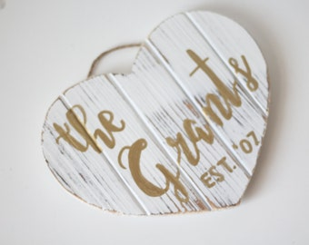 Wood Family Established Sign | Rustic Home Decor | Heart Shaped Sign | Personalized Sign | Custom Last Name Gift | Wedding | Gift for Couple