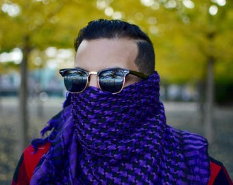 100% Cotton PURPLE Shemagh Premium Arabic Scarf Keffiyeh