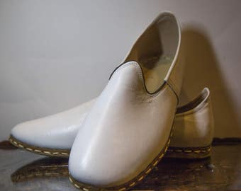 White Handmade Leather Shoes