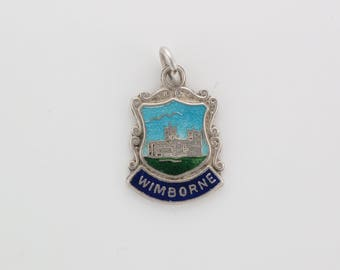 Vintage Sterling Silver Shield Wimborne Souvenir Travel Charm