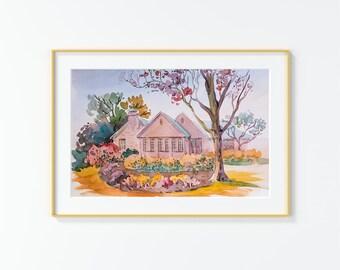 Original Watercolor Painting,Watercolor Painting,landscape,San Antonio,Rosemary Ave.