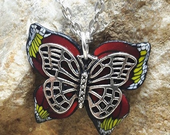 Red and Yellow Butterfly polymer clay necklace