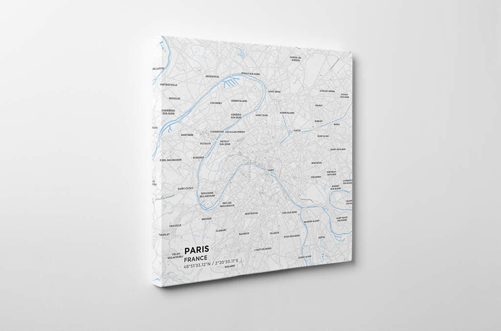Gallery Wrapped Map Canvas Of Paris France Subtle Ski: Paris Map Canvas At Infoasik.co