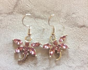 Pink Dragonfly Earrings, Dragonfly Earrings, Silver Earrings, Dragonfly Jewellery, Dragonfly Charms, Dragonflies.