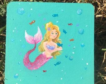 Mini Mermaid (4x4) Original Acrylic Painting on Wood