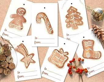 Christmas tags printable, Christmas lebels watercolor, Christmas tags ginger cookies.