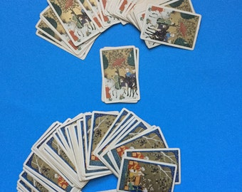 Asian Card Decks; Vintage; Gold; Two Different Designs; Horses, People, and Umbrella; Seated People; Vibrant Colors