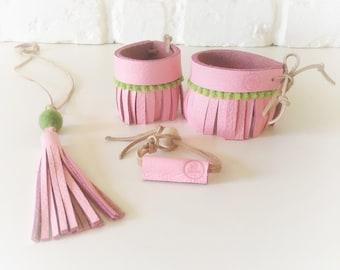 Boho leather jewelry set