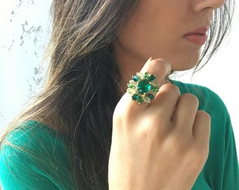 Emerald Ring, Emerald and Diamond Ring, Gold Ring, Large Ring, Statement Ring, Jewellery Sets