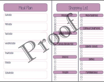 Meal Plan/Shopping List-INSTANT DOWNLOAD