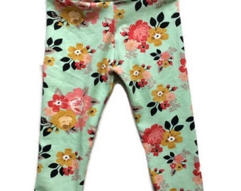 Girls leggings - girls floral leggings - leggings for girls - baby leggings - leggings for toddlers - toddler leggings