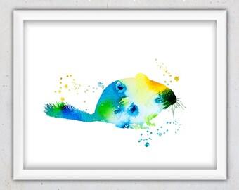 Nursery Print, Nursery Wall Art, Chinchilla Watercolor Animal Print, Instant Download Printable Art, Kids Art Baby, Decor Chinchilla Print
