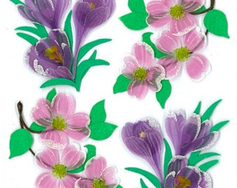 3D Dogwood and Crocus Stickers