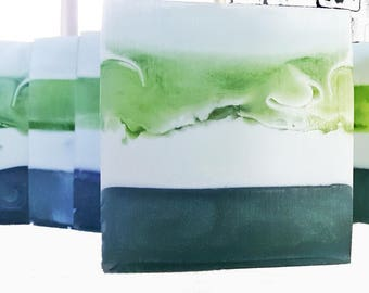 Green & Dreamy Handmade Soap / Eucalyptus, Woodsy / Phthalate Free / Celtic Sea Salt / Gluten Free / Vegan / Aloe Vera / Organic