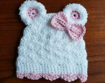 Crochet Baby Girl Hat, Crochet Bear Hat, Pink Bow, Newborn Photo Prop