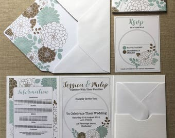 Floral Wedding Invitation Folder (Pocketfold) with Matching RSVP