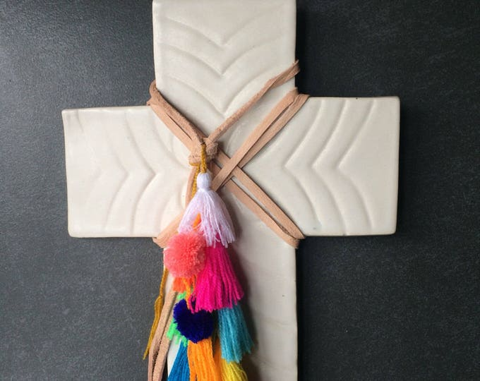 Decorative Ceramic Cross #3 / Carved Floral Design / Multi-Colour Fair-trade Tassels & Pom-Pom Trim