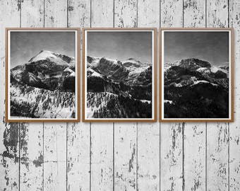 Triptyque, Big Panoramic Landscape Photography, Print Download, Black and White, German Alps, Mountains Photo, Winter Photo, Aquarell Sky