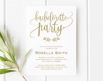 Gold Bachelorette Party Invite, Bachelorette invitation, Rustic Bachelorette Invite, Bachelorette itinerary,Bachelorette Printable, WPC_1042