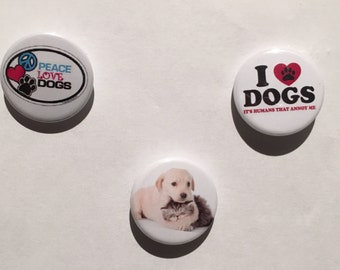 Dogs - I love Dogs - Set of 3 badges