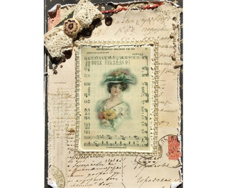 Victorian Greeting Card Distressed to look age - Beautiful Victorian Lady, Birthday Greeting Card, Card Size is 5 x 7, Multiple layers added