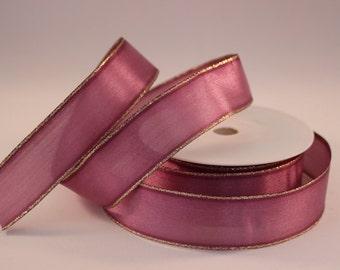 Wired Gold Edge Organza Ribbon, 1 Meter Organza Ribbon, 25mm Violet Ribbon, Christmas Ribbon, Gift Wrap, Etsy Shop Supplies.