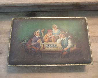 Antique Tin - Chess in and English Pub