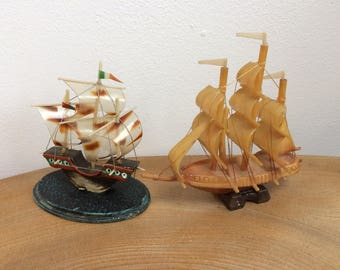 Two Vintage 50's Model Miniature Sailing Ships - Celluloid, hard plastic, with rigging