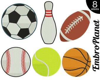 Sport Balls - Designs for Embroidery Machine Instant Download Digital File Graphic Stitch 4x4 5x7 inch hoop football ball tennis sport 570e