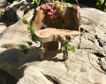 Fairy Bench, Fairy Chair, Fairy Gardening, Miniature  Furniture, Miniature Gardening, Elf Chair, Gnome Chair, Elf Bench, Gnome Bench