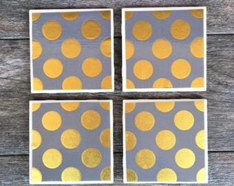 Gray and Gold Polka Dot Ceramic Coasters