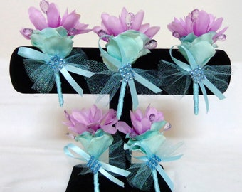 Set of 5 pc-Lavender and Aqua Shade-Pin on Silk Flower Boutonniere-Silk Flowers Boutonnieres-Wedding-Party-Special Event Boutonnieres