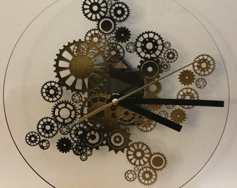Clock Steampunk black and gold 8.5 ""