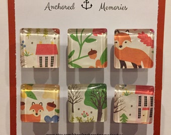 Handcrafted Glass Magnets - Set of 6 - Woodland Creatures   Holiday Gift   Party Favors   Stocking Stuffer