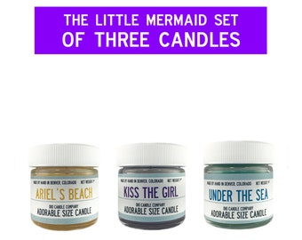 Disney Little Mermaid Adorable Set of 3 Adorable Size Candles - Under the Sea- Kiss the Girl- Ariel's Beach - Disney Candle -