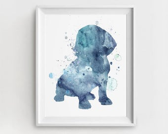 Dachshund Art, Dachshund Print, Digital Dachshund, Dachshund Wall Art, Blue, Large Printable, Watercolor Dachshund, Dachshund Painting