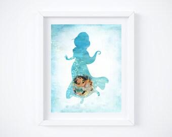 "Jasmine - Aladdin Silhouette Watercolor Art Print:  8"" x 10"""