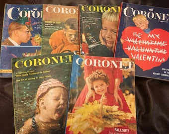 Six vintage Coronet Magazines 1959s with awesome color advertising.