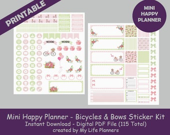 Bicycles & Bows MINI Happy Planner Printable Stickers, Weekly Kit, Planner Kit, Planner Stickers, MINI Happy Planner, Instant PDF Download