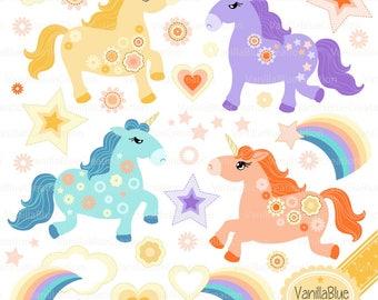 clipart unicorn , Unicorn vector unicorn baby, birthday invitation, birth announcement, rainbow sky
