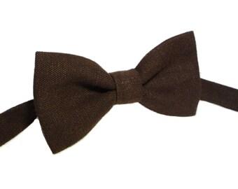 Brown Linen bow tie, Mens Bowtie in Brown, Wedding Bow Ties, Groomsmen Bow Tie, Kids bow ties, Boys bow ties, Toddler bow ties