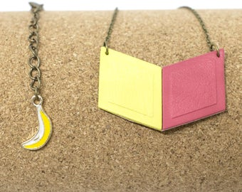 """""""The Malabar bi-gout"""" leather necklace fuchsia pink and fluorescent yellow handmade"""