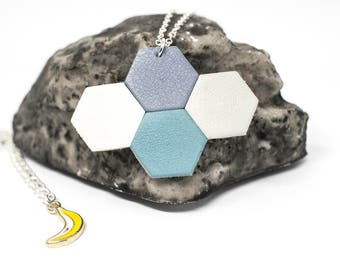 """Necklace """"The Mayan"""" blue, light gray, white and grey-blue leather"""
