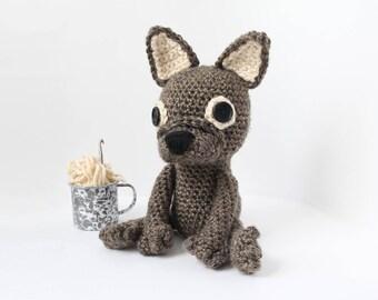 Crochet Brindle French Bulldog – stuffed animal toy, handmade to order