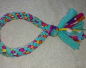Fleece dog toy-dog tug toy-in aqua and multicolored fabric